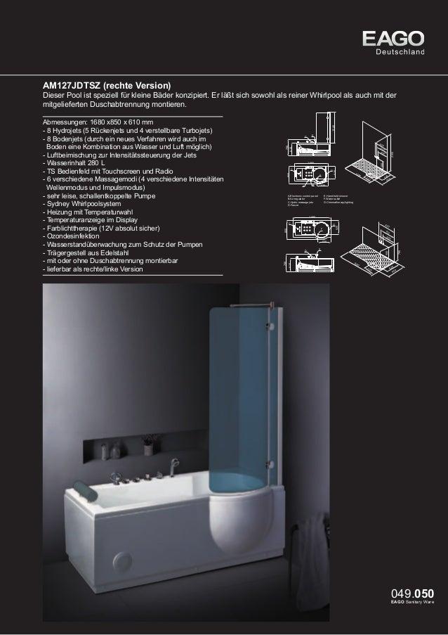 EAGO Whirlpools Sydney Serie AM128JDTS-1Z  Freistehender Whirlpool im klassischen Design. Ein Traum für jedes Badezimmer. ...