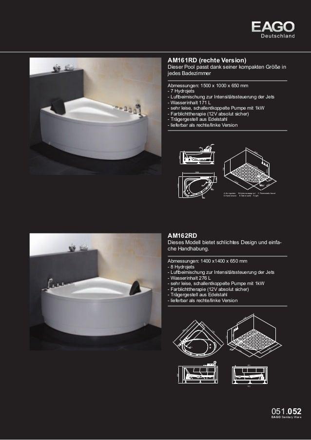 EAGO Whirlpools Sydney Serie AM188RD  Dieser Pool passt dank seiner kompakten Größe in jedes Badezimmer Abmessungen: 1500 ...