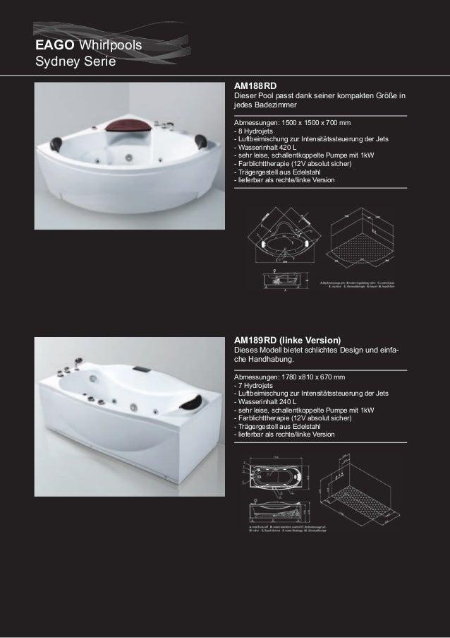 AM190RD (rechte Version)  Dieser Pool passt dank seiner kompakten Größe in jedes Badezimmer Abmessungen: 1700 x 800 x 660 ...