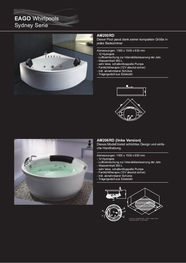 AM207RD (rechte Version)  Dieser Pool passt dank seiner kompakten Größe in jedes Badezimmer Abmessungen: 1700 x 800 x 610 ...