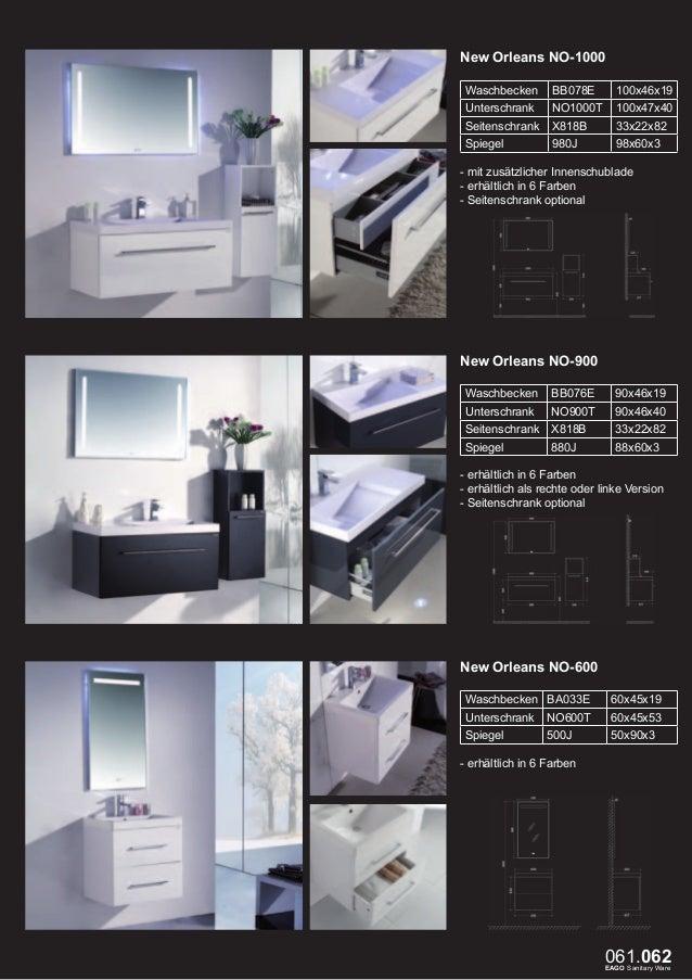 Milano ME-600 Waschbecken  BB084-1  60x48x15  Unterschrank  ME600T  60x48x42  Spiegel  ME600S  46x19x72  - mit zusätzliche...