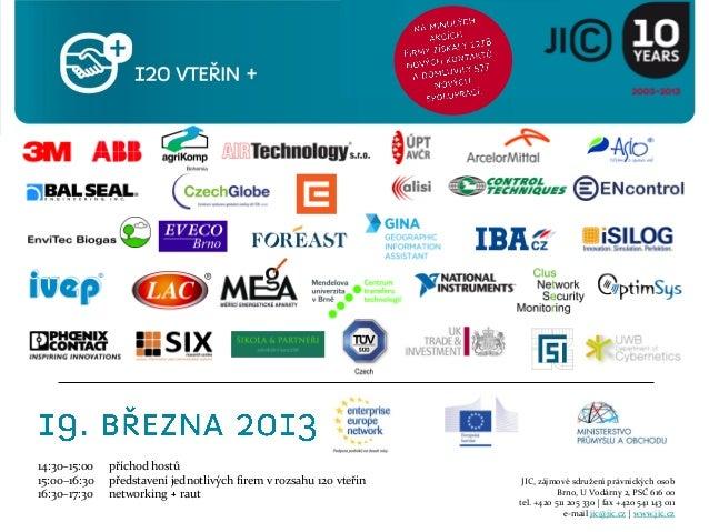 14:30–15:00   příchod hostů15:00–16:30   představení jednotlivých firem v rozsahu 120 vteřin    JIC, zájmové sdružení práv...
