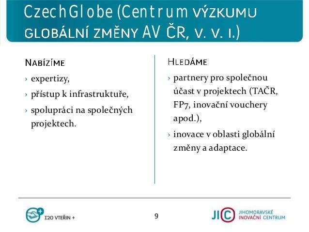 › partnery pro společnou účast v projektech (TAČR, FP7, inovační vouchery apod.), › inovace v oblasti globální změny a ada...