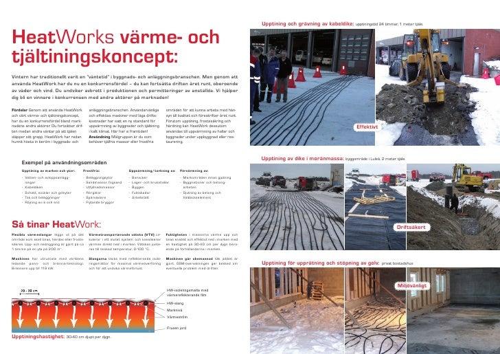 Upptining och grävning av kabeldike: upptiningstid 24 timmar, 1 meter tjäle.   HeatWorks värme- och tjältiningskoncept: Vi...