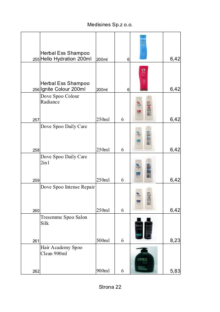 Medisines Sp.z o.o.    Herbal Ess Shampoo255 Hello Hydration 200ml        200ml         6   6,42    Herbal Ess Shampoo256 ...