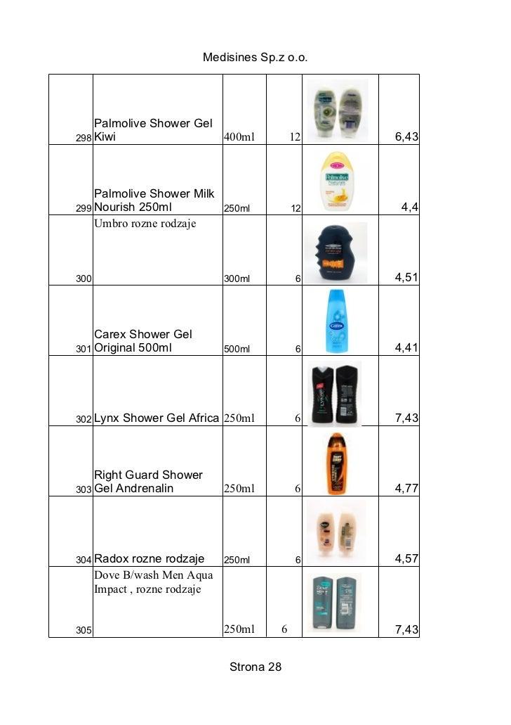 Medisines Sp.z o.o.    Palmolive Shower Gel298 Kiwi                 400ml              12   6,43    Palmolive Shower Milk2...