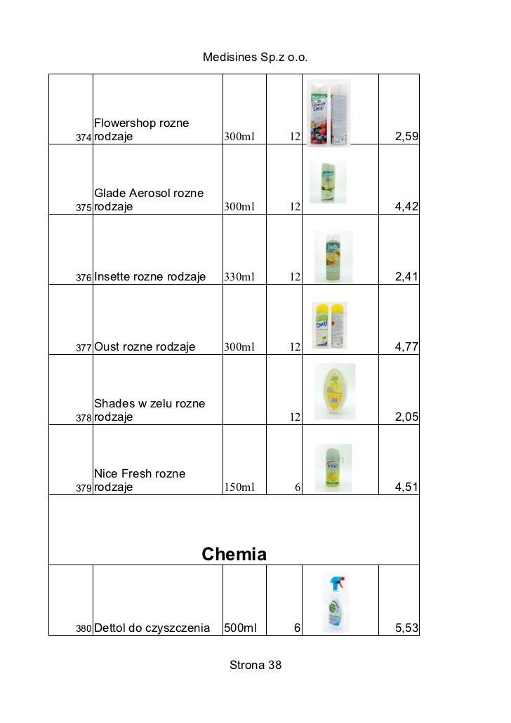 Medisines Sp.z o.o.    Flowershop rozne374 rodzaje                   300ml        12    2,59    Glade Aerosol rozne375 rod...