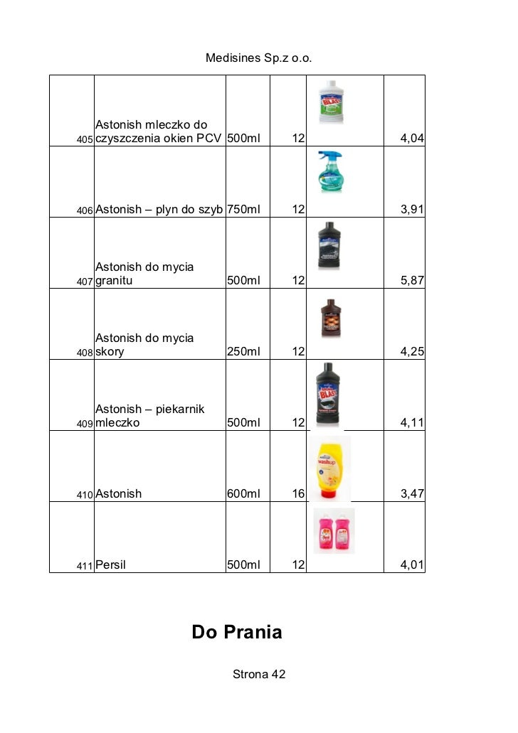 Medisines Sp.z o.o.    Astonish mleczko do405 czyszczenia okien PCV 500ml            12    4,04406 Astonish   – plyn do sz...