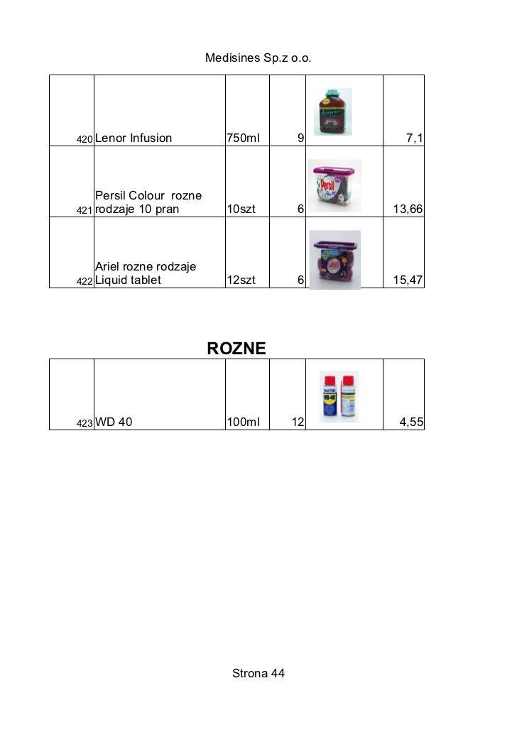 Medisines Sp.z o.o.420 Lenor   Infusion         750ml         9      7,1    Persil Colour rozne421 rodzaje 10 pran        ...