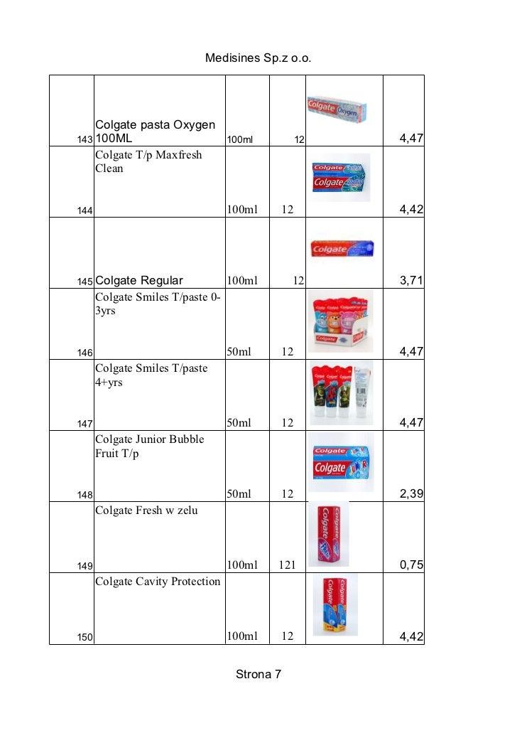 Medisines Sp.z o.o.    Colgate pasta Oxygen143 100ML                         100ml         12   4,47    Colgate T/p Maxfre...