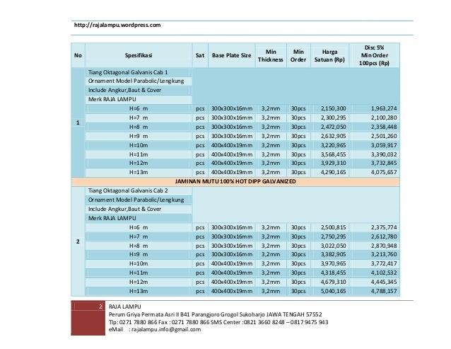 Daftar Harga Tiang Lampu Galvanis 2014 Slide 3