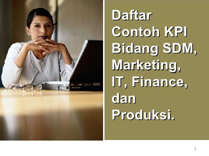 Daftar Contoh KPI Bidang SDM, Marketing, IT, Finance, dan Produksi.