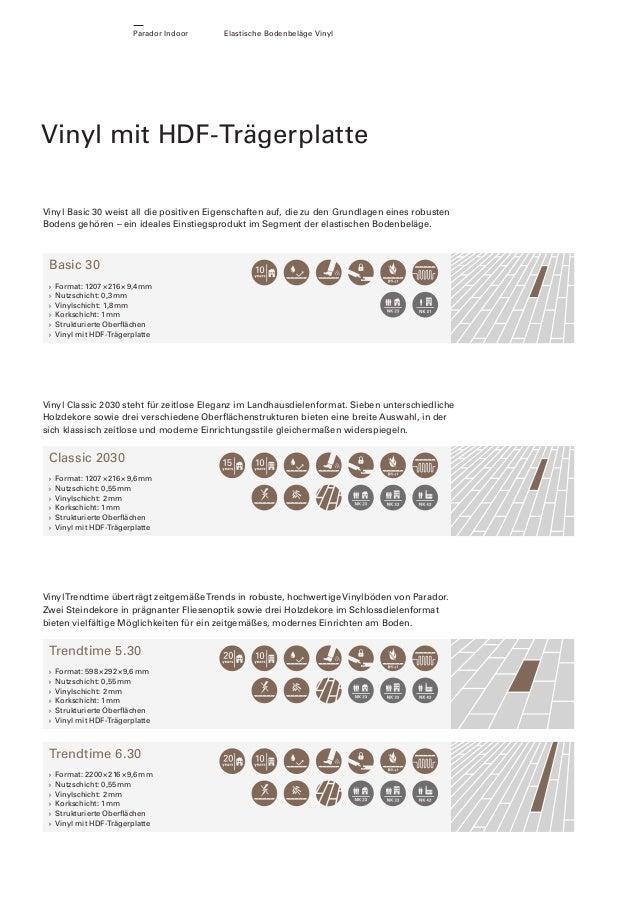 Parador Indoor  Elastische Bodenbeläge Vinyl  Vinyl mit HDF-Trägerplatte Vinyl Basic 30 weist all die positiven Eigenschaf...