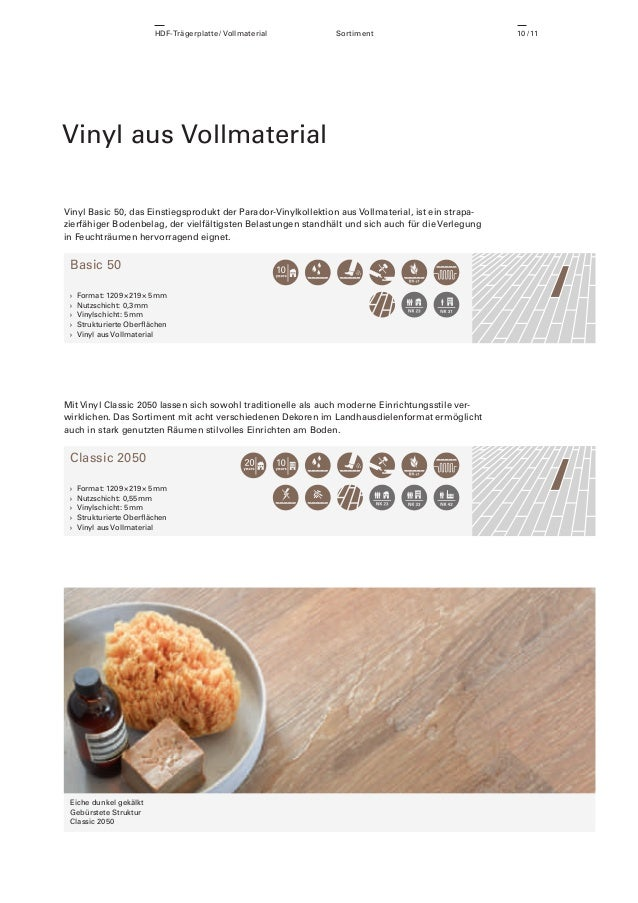 HDF-Trägerplatte / Vollmaterial  Sortiment  Vinyl aus Vollmaterial Vinyl Basic 50, das Einstiegsprodukt der Parador-Vinylk...
