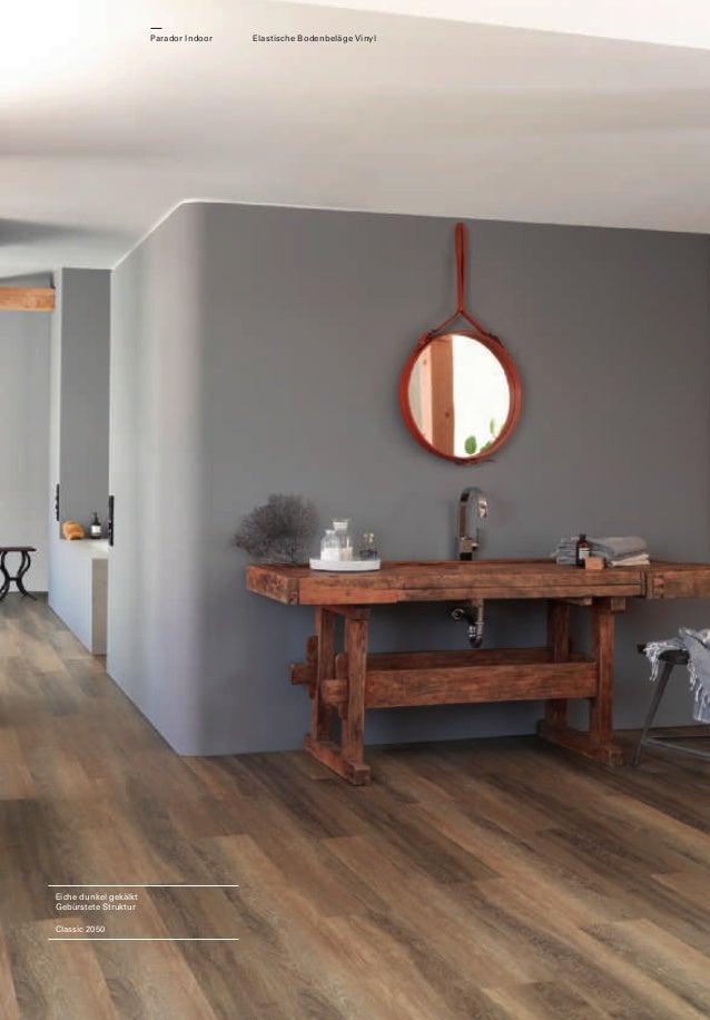 Parador Indoor  Eiche dunkel gekälkt Gebürstete Struktur Classic 2050  Elastische Bodenbeläge Vinyl