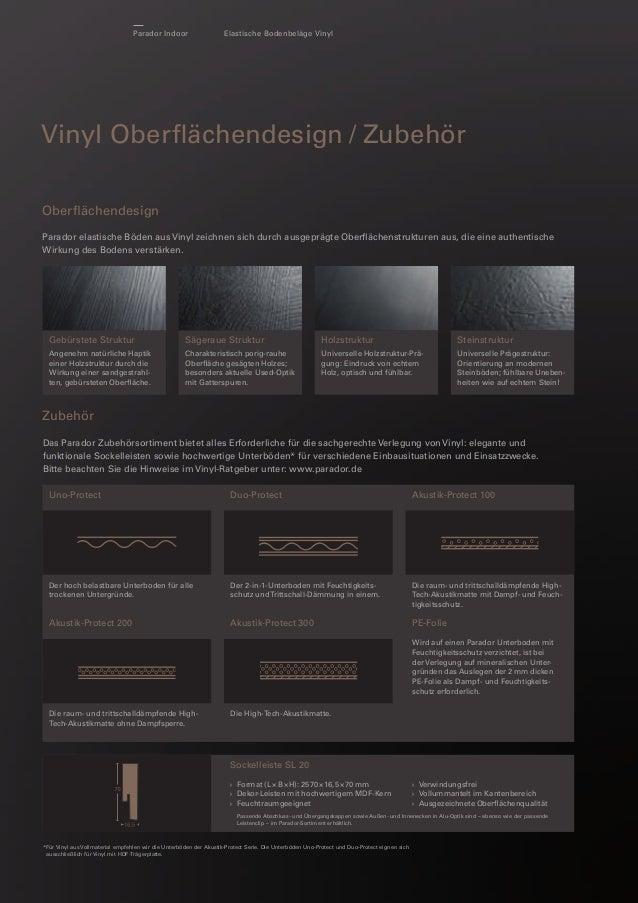 Parador Indoor  Elastische Bodenbeläge Vinyl  Vinyl Oberflächendesign / Zubehör Oberflächendesign Parador elastische Böden a...