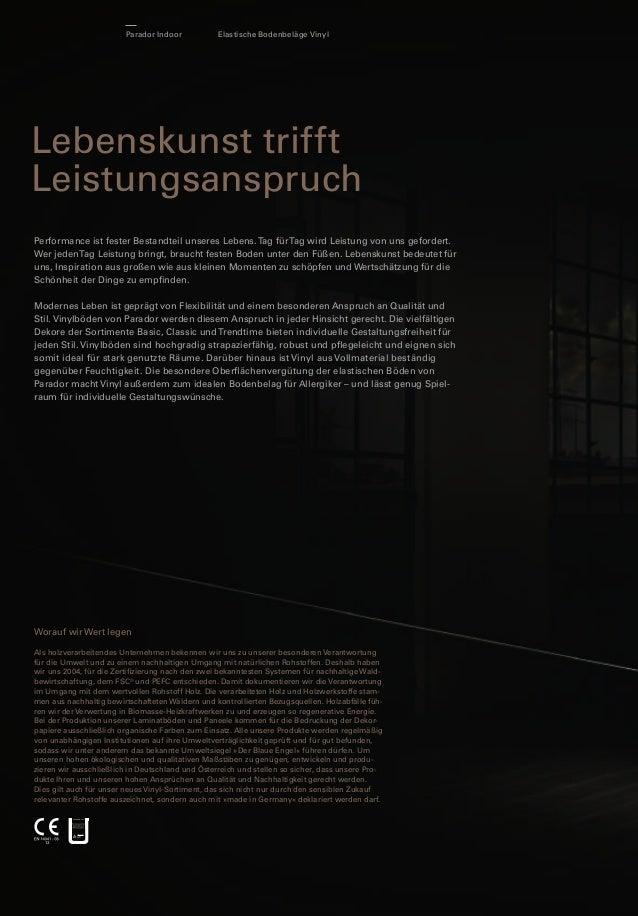 Parador Indoor  Elastische Bodenbeläge Vinyl  Lebenskunst trifft Leistungsanspruch  Produkteigenschaften  HDF-Trägerplatte...