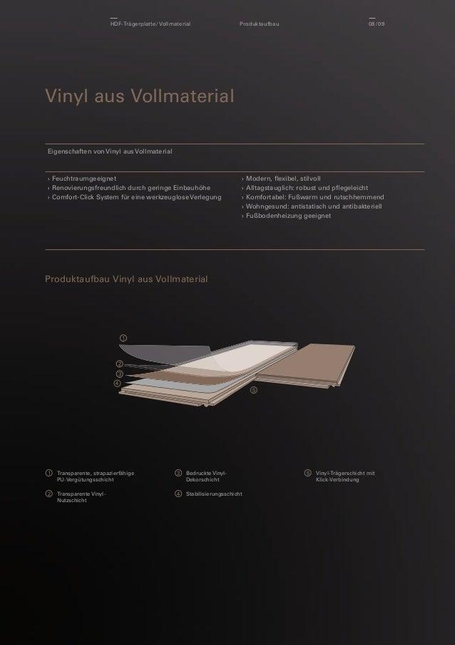 HDF-Trägerplatte / Vollmaterial  Produktaufbau  08 / 09  Vinyl aus Vollmaterial Eigenschaften von Vinyl aus Vollmaterial  ...