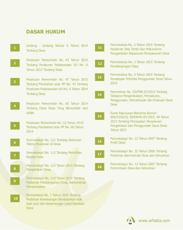 DASAR HUKUM Undang - Undang Nomor 6 Tahun 2014 Tentang Desa Peraturan Pemerintah No. 43 Tahun 2014 Tentang Peraturan Pelak...