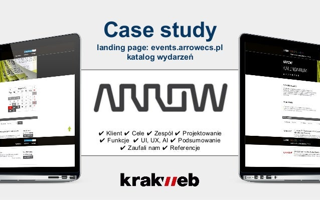 Case study landing page: events.arrowecs.pl katalog wydarzeń ✔ Klient ✔ Cele ✔ Zespół ✔ Projektowanie ✔ Funkcje ✔ UI, UX, ...