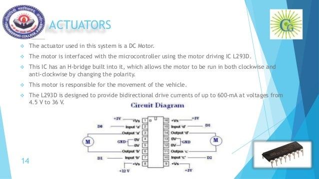 ACTUATORS  The actuator used in this system is a DC Motor.  The motor is interfaced with the microcontroller using the m...
