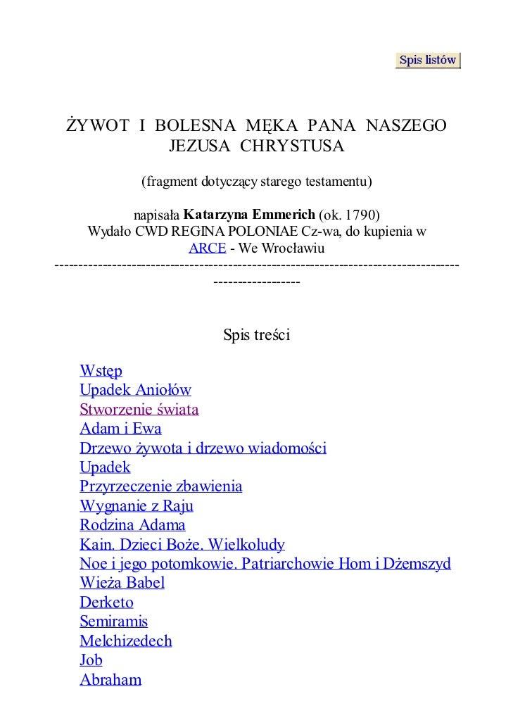 ŻYWOT I BOLESNA MĘKA PANA NASZEGO           JEZUSA CHRYSTUSA                  (fragment dotyczący starego testamentu)     ...