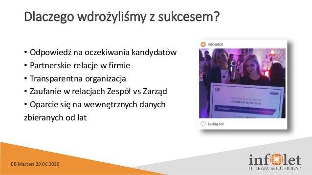 Dlaczego wdrożyliśmy z sukcesem? • Odpowiedź na oczekiwania kandydatów • Partnerskie relacje w firmie • Transparentna orga...