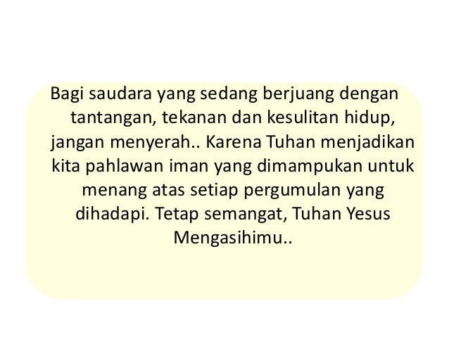 Kata Semangat Tuhan Yesus Melalui Hendro Suryanto