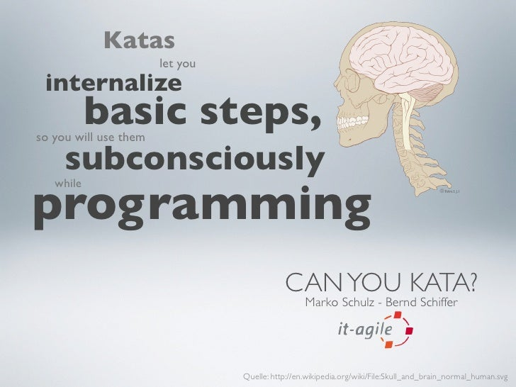 Katas                        let you  internalize            basic steps, so you will use them       subconsciously progra...