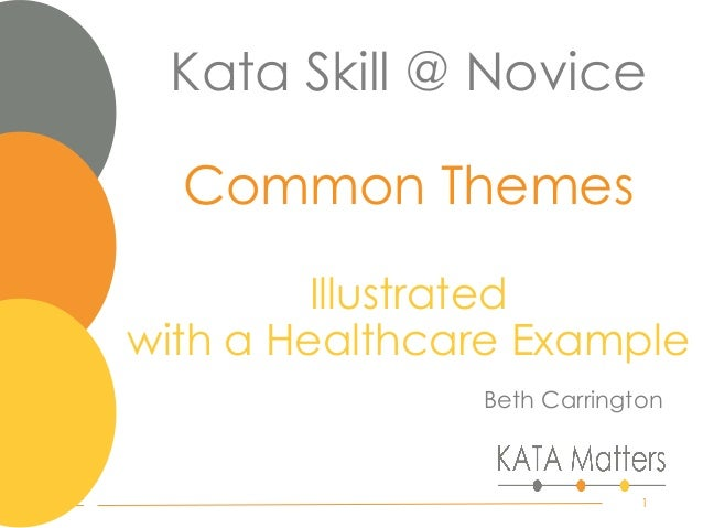 Kata Skill @ Novice Common Themes Illustrated with a Healthcare Example Beth Carrington 1