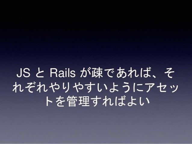 ここで難しいのが、Rails のコ ードと JS のコードがどちらも そこそこの分量存在するアプリ ケーション