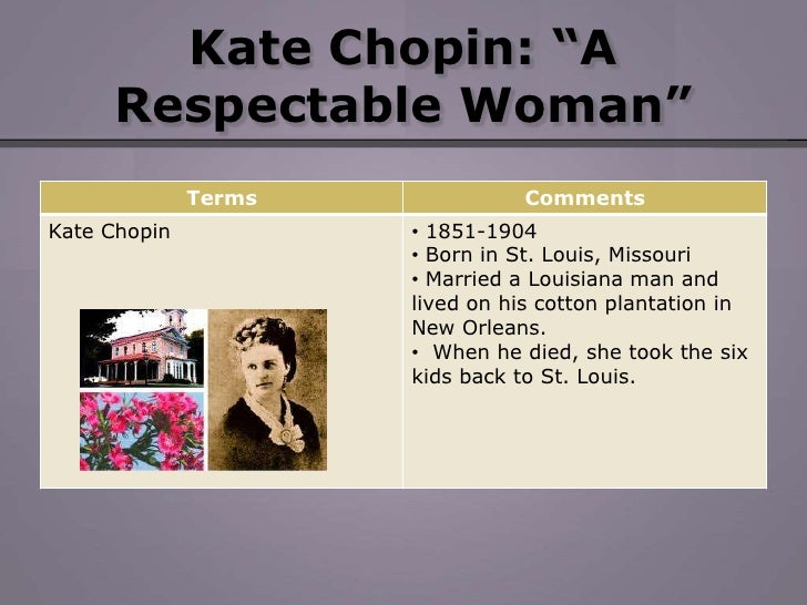 "a respectable woman by kate chopin The short story ""a respectable woman"" by kate chopin is structured around the character of mrs baroda and her inner conflict as she finds herself attracted to her husband's friend."