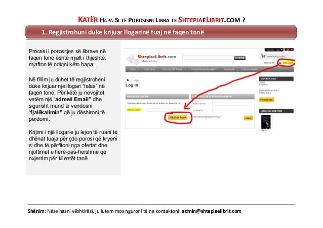 KATËR HAPA SI TË POROSISNI LIBRA TE SHTEPIAELIBRIT.COM ? 1. Regjistrohuni duke krijuar llogarinë tuaj në faqen tonë Proces...