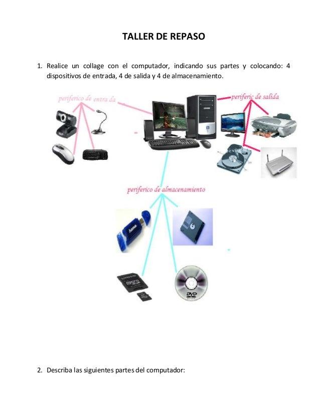 TALLER DE REPASO 1. Realice un collage con el computador, indicando sus partes y colocando: 4 dispositivos de entrada, 4 d...
