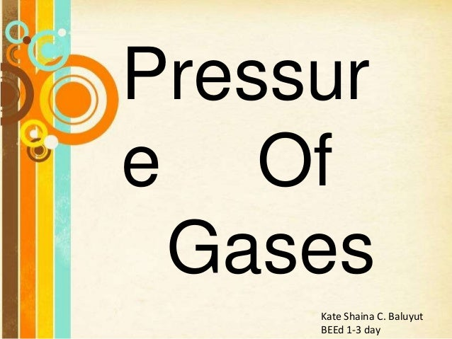 Free Powerpoint Templates Pressur e Of Gases Kate Shaina C. Baluyut BEEd 1-3 day