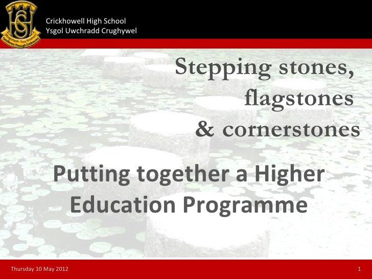 Crickhowell High School            Ysgol Uwchradd Crughywel                                       Stepping stones,        ...