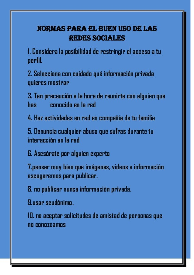 Normas para el buen uso de las redes sociales for Bankia particulares oficina internet entrar