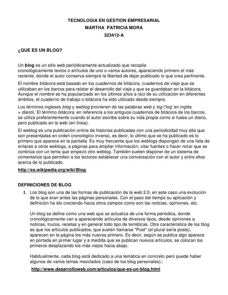 TECNOLOGIA EN GESTION EMPRESARIAL                                  MARTHA PATRICIA MORA                                   ...