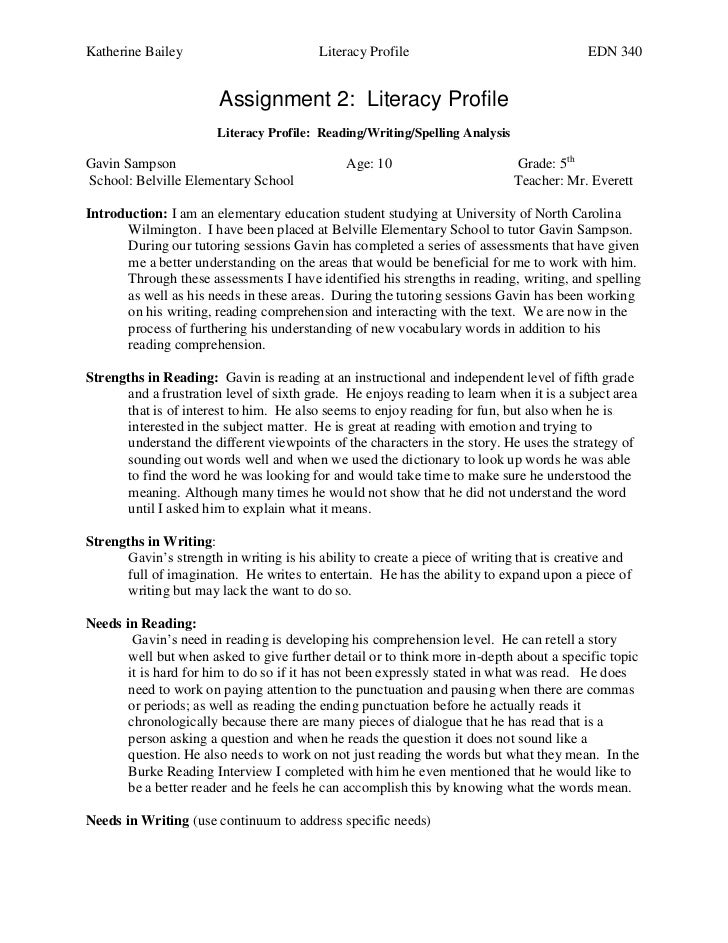 Katherine Bailey                          Literacy Profile                                 EDN 340                        ...