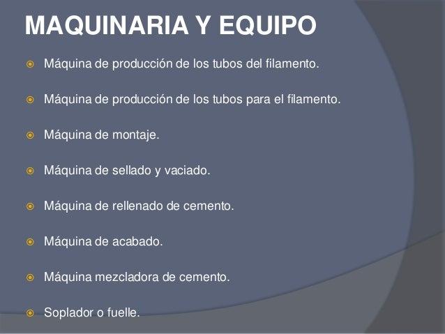 Producci n de bombillas for Maquinaria y utensilios para la produccion culinaria