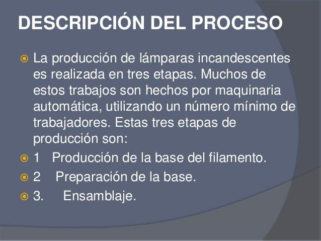 Producci n de bombillas for Descripcion del proceso de produccion