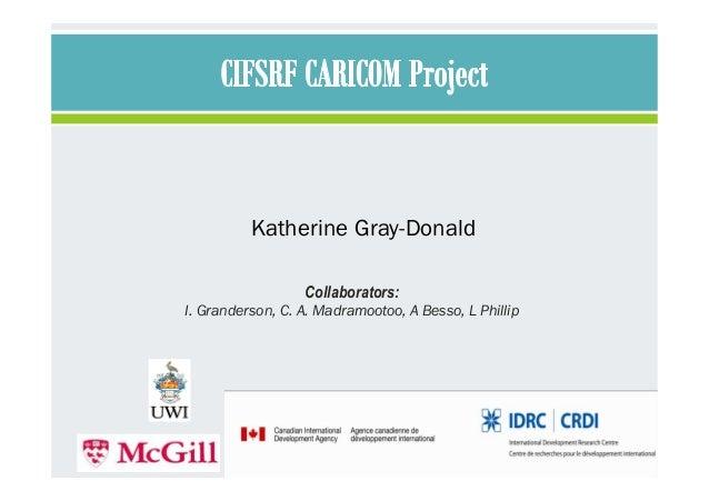 Collaborators: I. Granderson, C. A. Madramootoo, A Besso, L Phillip Katherine Gray-Donald