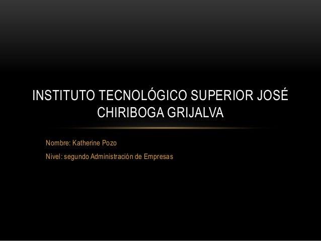 Nombre: Katherine PozoNivel: segundo Administración de EmpresasINSTITUTO TECNOLÓGICO SUPERIOR JOSÉCHIRIBOGA GRIJALVA