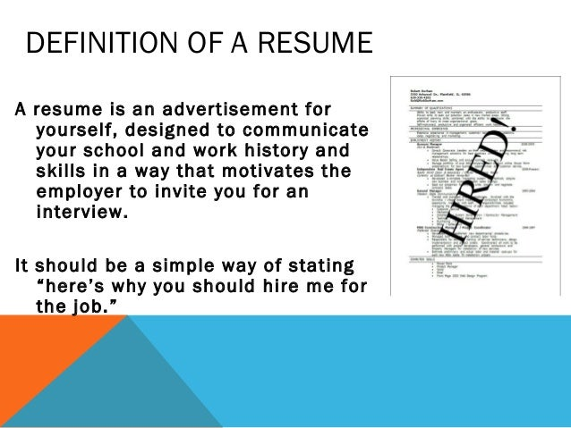 Definition Of Resume - Free Professional Resume Templates Download ...