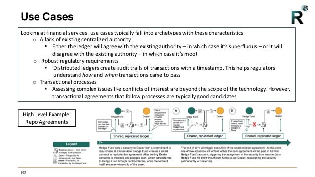 R3 Use Cases Looking at financial services, use cases typically fall into archetypes with these characteristics o A lack o...