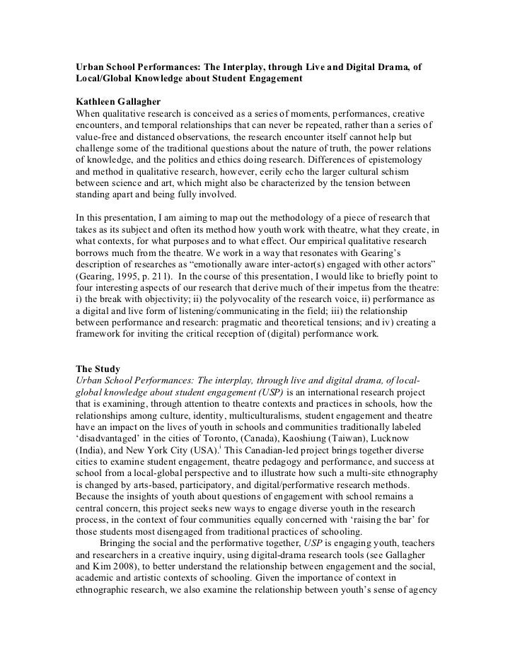 Urban School Performances: The Interplay, through Live and Digital Drama, of Local/Global Knowledge about Student Engageme...