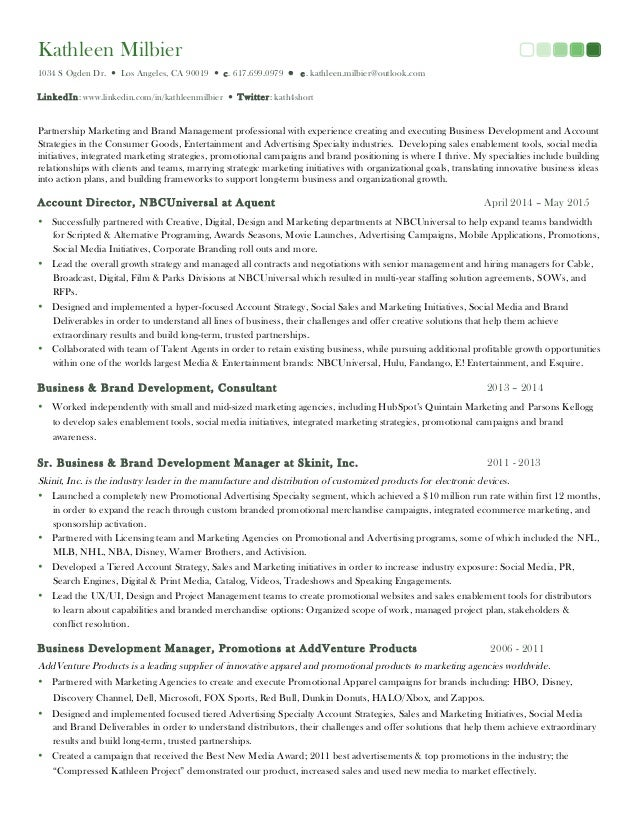 Kathleen Milbier Resume Marketing Strategy Business Development