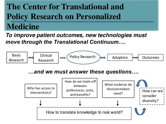 The Center for Translational andPolicy Research on PersonalizedMedicineTo improve patient outcomes, new technologies mustm...