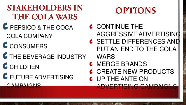 cola wars conclusion The cola wars have been raging for decades, but which brand comes out on top today we analyze the market share of coke vs pespi on social.