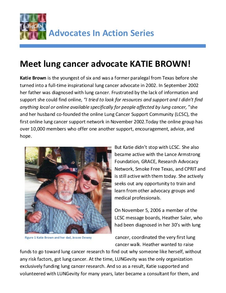 Advocates In Action SeriesMeet lung cancer advocate KATIE BROWN!Katie Brown is the youngest of six and was a former parale...